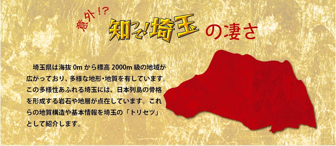 意外!?知って!埼玉の凄さ。埼玉県は海抜ゼロメートルから標高二千メートル級の地域が広がっており、多様な地形、地質を有しています。この多様性あふれる埼玉には、日本列島の骨格を形成する岩石や地層が点在しています。これらの地質構造や基本情報を埼玉のトリセツとして紹介します。